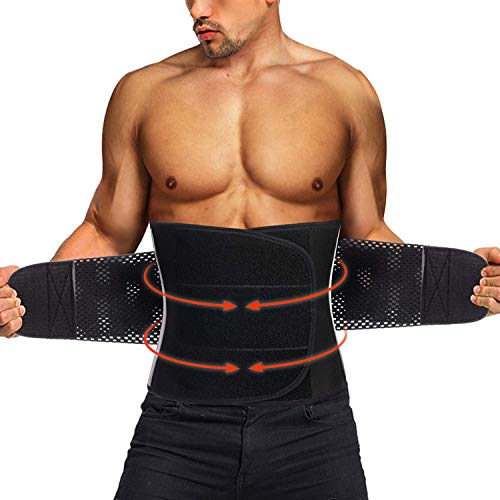 Gotoly Waist Trainer Weight Loss Trimmer Neoprene Slimming Belt Adjustable Stomach Fat Burner Underwear Band Body Shaper Cinchers Back Support (Black with Elastic Band, Large)