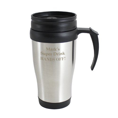Custom Personalised Stainless Steel Travel Mug Laser Engraved with Your Own Text. Ideal For the Commute, Birthdays.