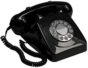 $37 » GPO 746 Push-Button 1970s-style Retro Landline Phone - Curly Cord Authentic Bell Ring - Black