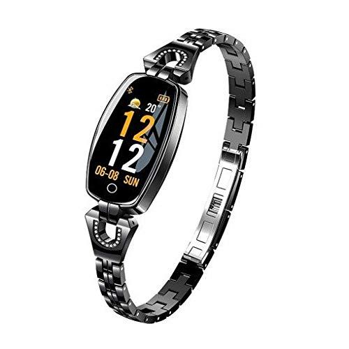 H8 - Reloj inteligente para mujer con monitor de presión arterial de corazón, correa de acero, resistente al agua, color negro