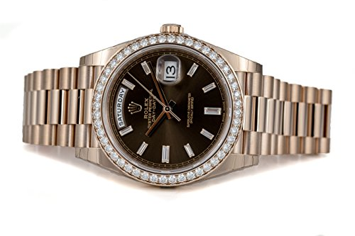 Rolex Oyster Perpetual Day-Date 40mm 18K Everose Gold Watch with Everose Gold Bezel Set with 48 Diam