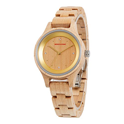 Jeddo & Sons Damen Holzuhr mit austauschbarem Holz und Beige Lederarmbändern, umweltfreundlich und nachhaltig, handgefertigt aus natürlichem Ahornholz