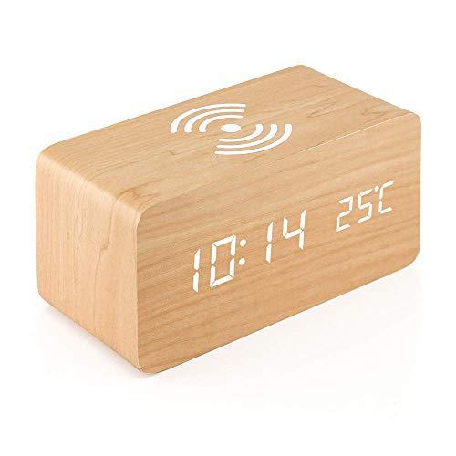TOOGOO Reloj Despertador De Madera con Almohadilla De Carga Inalámbrica Qi Compatible con para iPhone Samsung Reloj Digital Led De Función, Pantalla De Temperatura para Oficina - Madera