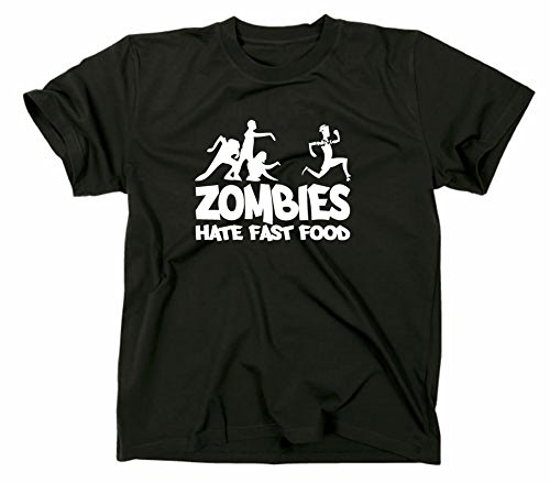 Zombies hate Fast Food Fun T-Shirt, zombie, horror, Schwarz, XXL