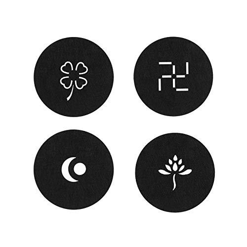 Aoliandatong Set di 12 sottobicchieri in feltro per bicchieri, lavabili, design in vetro, colore nero, per bevande, tazze, bar, vetro, sottobicchieri in feltro