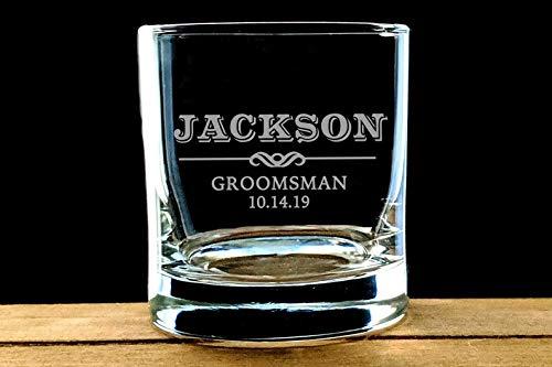Wijnglas, Gepersonaliseerde Groomsmen Rotsen Bril, Premium Graveren, Aangepaste geëtste Whiskey Bril, Groomsman Gift Ideeën