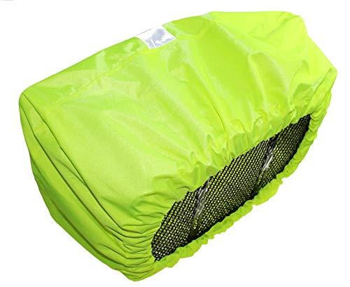 P4B Fahrradkorbabdeckung Regenschutz REFLEX Neongelb Wasserabweisend mit Reflexstreifen - 2