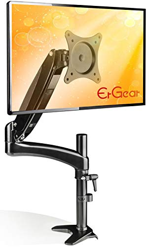 ErGear Monitor Mount for 15-32' Flat/Curved Monitors, Full Motion Gas Spring Arm Improved LCD/LED Computer Monitor Riser, Height/Angle Adjustable Single Desk Mount Stand, Holds up to 17.6lbs, Black