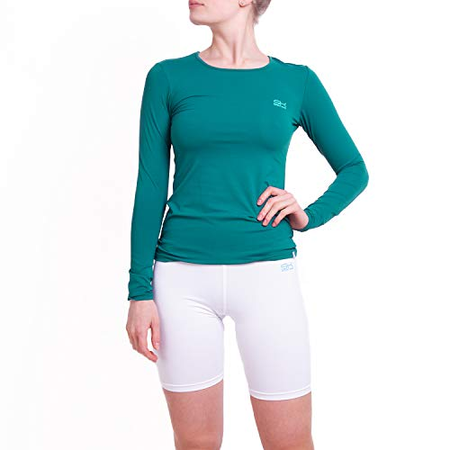 Sportkind Mädchen & Damen Tennis, Running, Sport Langarm Shirt mit Rundhalsausschnitt, UV-Schutz UPF 50+, atmungsaktiv, Petrol grün, Gr. 146