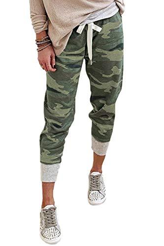 CILKOO Womens Fashion Casual Drawstring Elastic Waist Jogging Jogger Pants with Pockets Camo Green US8-10 Medium