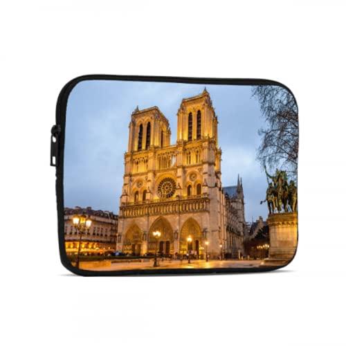 Bolsa para computadora Hermosa Notre Dame De Paris iPad Mini Accesorios compatibles con iPad 7.9/9.7 Pulgadas Bolsa Protectora de Tableta con Cremallera de Neopreno a Prueba de Golpes con