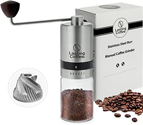 Lasting Coffee Manual Coffee Grinder with Stainless Steel...