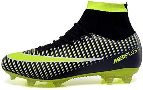 VVTTY - Botas de fútbol transpirables con taco para hombre, zapatos de fútbol con cordones, color Negro, talla 44 EU