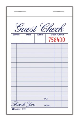 """Adams Guest Check Pad, Single Part, White, 3-11/32"""" x 5-7/16"""", 100 Sheets/Pad, 12 Pads/Pack (2100-12)"""