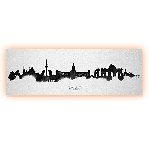 Arcoiris Home Cuadro decorativo Skyline Madrid 90x30cm con LED