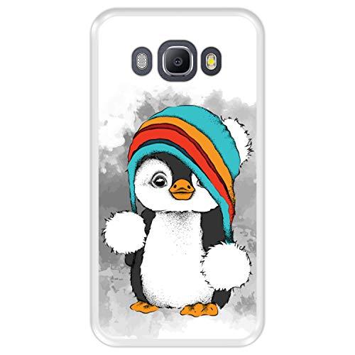 Hapdey Custodia per [ Samsung Galaxy J5 2016 ] Disegni [ Baby Pinguino, Inverno ] Cover Guscio in Silicone Flessibile Transparente TPU