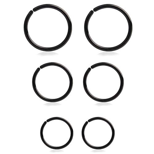 Drawer Props Pack Variado para Oreja y Nariz de 6 Aros de 6mm, 8mm y 10 mm de Acero Quirúrgico Flexible Color Negro - Pendientes Reales para Oreja - Hipoalergénicos