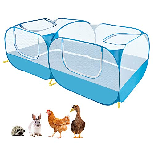 Nasjac Corralito para animales pequeños, corral grande portátil 2 en 1 para pollos con fondo desmontable, paredes de malla transparente transpirable, plegable para mascotas para , gatitos, conejos
