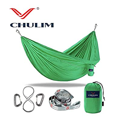 CHULIM Double Camping Hammock with 10ft Hammock Straps and 12kn Aluminum Wiregate Carabiner.Lightweight Portable Camping Gear.Parachute Nylon Hammock for Camping,Travel,Backpacking,Beach.