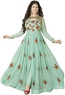Sukhvilas Fashion Women's Georgette Semi-Stitched Embroidery Anarkali Churidar Salwar Suit (Pista Green, Free Size)