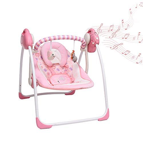 VASTFAFA Columpio eléctrica para bebé compacto plegable, 6 velocidades de oscilación, Reposacabezas desmontable, 16 canciones suaves y lindos juguetes para acompañar al bebé (rosa)