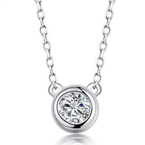 collar de Mujer pequeña joyería Oro Blanco Colgante, Diamante 18k sólido con el Regalo de Cadena Compromiso de la Boda Pulsera
