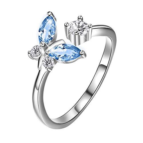 Anello a forma di farfalla in argento Sterling, con scatola regalo per donne e ragazze, Argento, colore: Blue, cod. PYJ0007