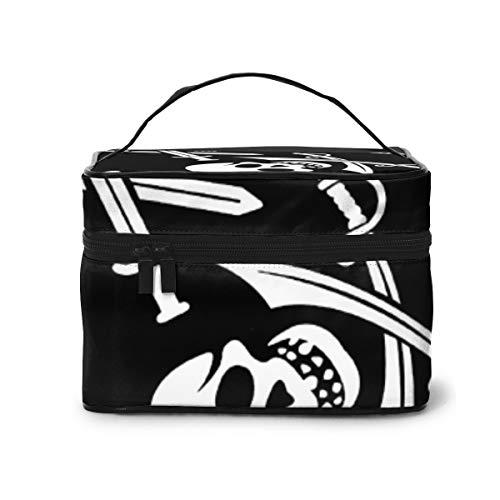 Bolsa de Maquillaje de Embrague con Bolsa cosmética práctica de Calavera Negra