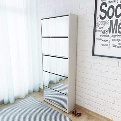 Cikonielf Zapatero con espejo para entrada, 63 x 17 x 169,5 cm, zapatero con 5 puertas abatibles, para aproximadamente 15 – 20 pares de zapatos, color blanco