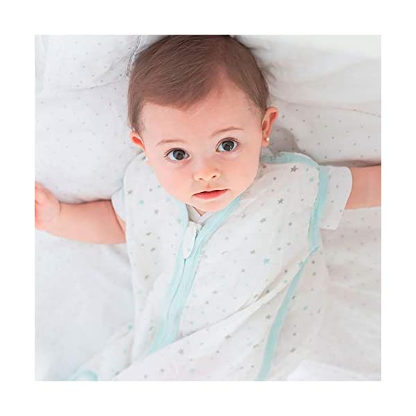 Molis&co Baby Sleeping Bag or Sack 100% Cotton. 0-6 Months. Super Light,Ideal for Summer (0.4 TOG). Cotton Baby Wearable Blanket with 2-Way Zipper, Fits Infants Bule Star.