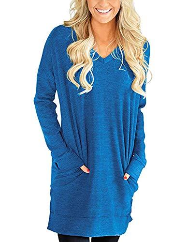 Buauty Womens Casual V-Neck Long Sleeves Tunics Dress Blouse Tops with Pocket