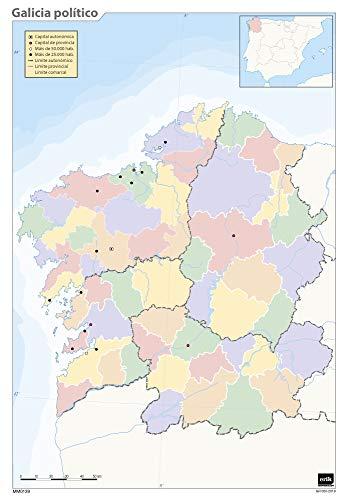 Mapa mudo Galicia politico A4