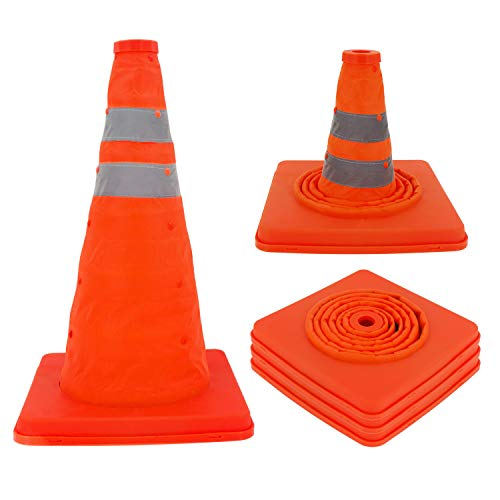BBMi Traffic Cones, 3 Pack 15.8 inch Traffic Cones, Collapses Design Safety Cone, Orange Waterproof Road Parking Cone, Construction Cones with Reflective Strips Collar