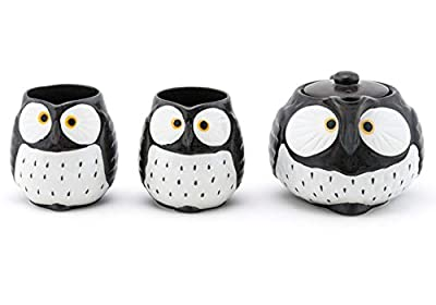 Happy Sales HSTS-OWLBLK, Japanese Style Ceramic Tea Pot with Strainer and 2 Cups Tea Set, Black Owl