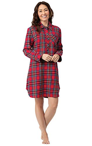 PajamaGram Flannel Nightgown Soft Plaid - Sleep Shirt for Women, Red, S, 4-6