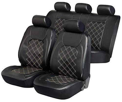 Walser Deluxe Auto Sitzbezug Paddington mit Reißverschluss, Zipp-IT Schonbezüge Auto, Komplettset, 2 Vordersitzbezüge, 1 Rücksitzbezug schwarz 11979