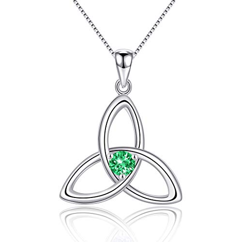 Irish Celtic Triquetra Knot 925 Sterling Silver Created Emerald May Birthstone Pendant Necklace for Women Fine Jewelry Birthday Gift