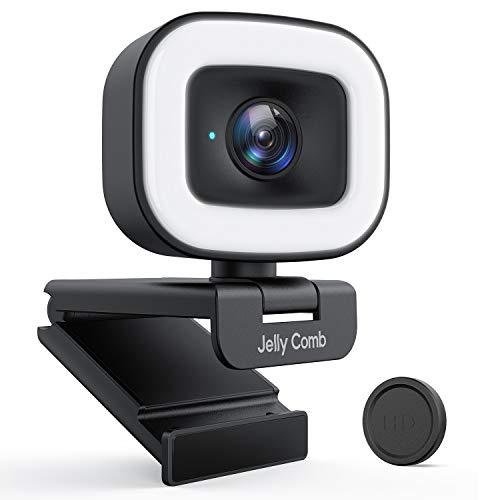 Jelly Comb 1080P HD Streaming Webcam mit Ringlicht, 60f/s PC Kamera mit Objektivdeckel/Autofokus/Stereo Mikrofon für Computers, Video Chat und Aufnahme unter Skype/Zoom/YouTube/Facebook, Schwarz