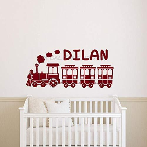 Nombre personalizado etiqueta de la pared tren jardín de infantes dormitorio de los niños habitación del bebé decoración del hogar nombre personalizado vinilo etiqueta de la pared arte mural 114x50 cm