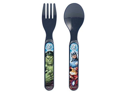 Lulabi Marvel Avengers - Juego de 2 cubiertos, plástico rígido, azul