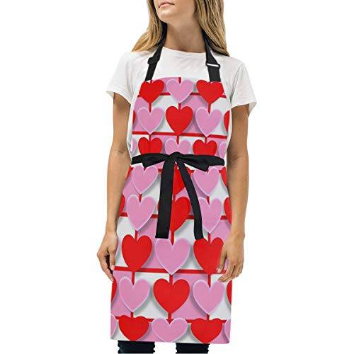 BJAMAJ Tablier de Cuisine réglable avec 2 Poches, Motif cœurs Love Valentin pour Cuisine, Cuisine, Cuisine, Cuisine, Artisanat, Restaurant