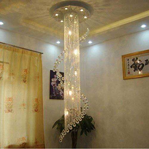 ZCZZ Candelabro de Cristal Moderno para Escalera Accesorio de iluminación LED de Lujo para Sala de Estar Diseño en Espiral Cristales Largos Luces, luz cálida 3000K, Dia60 H200cm