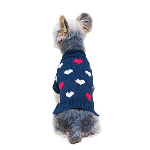 Stinky G Mini Heart Dog Sweater Navy Blue Size #10