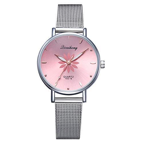 Allskid Mujer Relojes Flor Marcar Inoxidable Acero Malla Correa de Reloj Cuarzo Chicas Relojes de Pulsera (32mm, Rosa)