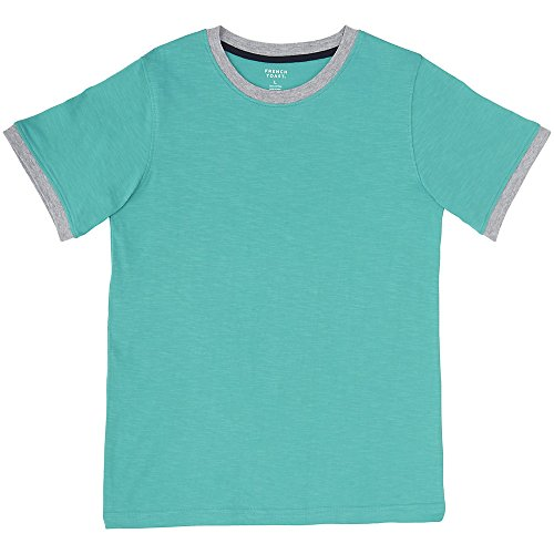 French Toast Boys' Big Short Sleeve Ringer Crew Neck Tee Shirt, Drift Turquoise, L (10/12) Blue Kids Ringer T-shirt