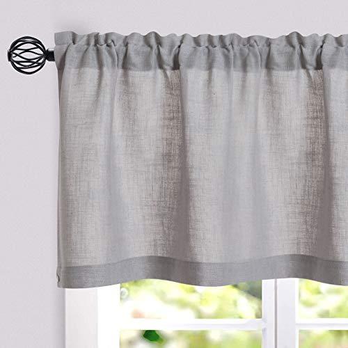 JINCHAN Linen Valance for Kitchen Living Room Rod Pocket Flax Rustic Window Treatments 1 Panel 15 inch Length Grey