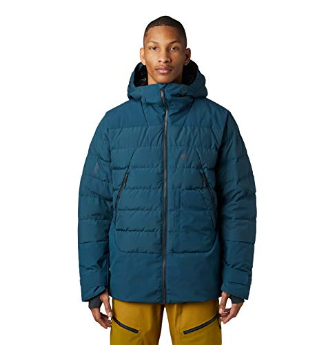 Mountain Hardwear Direct North Gore Tex Windstopper Men's Insulated Down Jacket for Skiing, Snowboarding, and Outdoor Recreation - Icelandic - Large