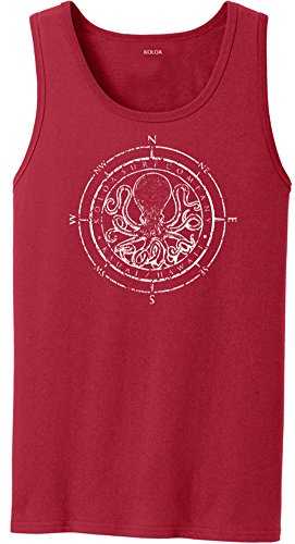 Joe's USA Koloa Surf Octopus Logo Heavyweight Cotton Tank Top-Red/w-2XL