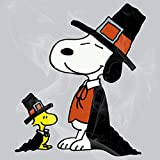Enigma Design Company Peanuts Snoopy & Woodstocks Thanksgiving Pilgrims Clear Static Cling Semitransparent Decal 7'