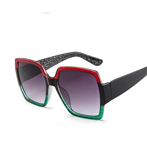 WPHH Gafas De Sol De Gran Tamaño para Mujer, Gafas De Sol De Diseñador Retro con Degradado, Gafas De Sol Rojas De Plástico para Mujer UV400,Red Green